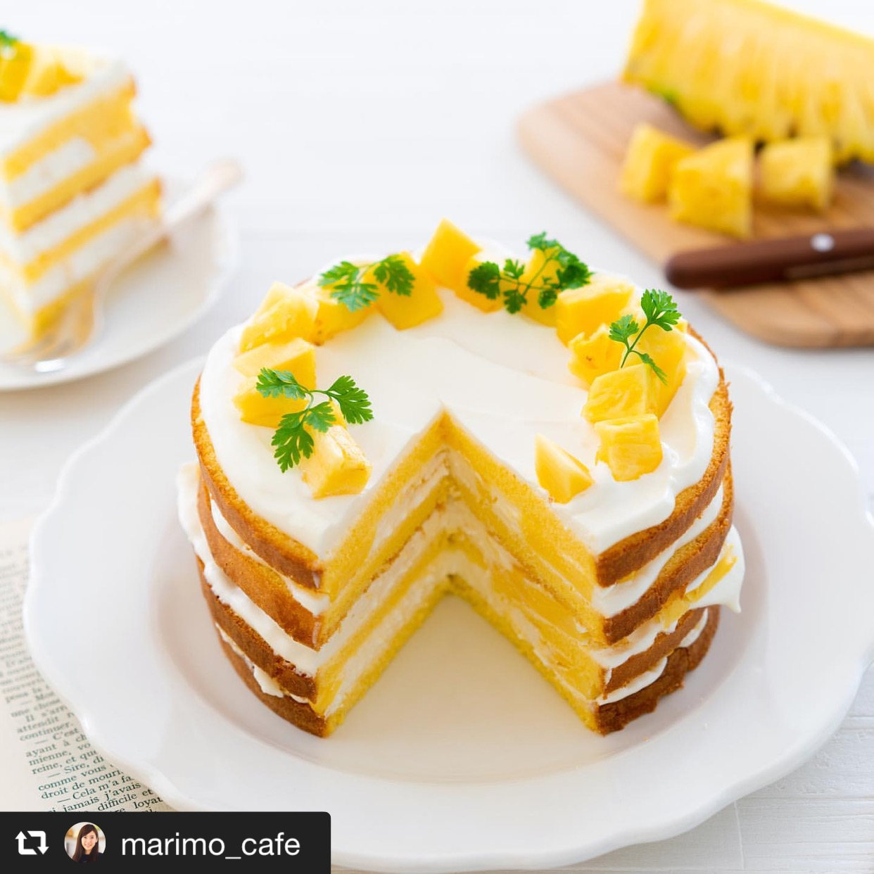 パイナップルのネイキッドショートケーキ 画像1